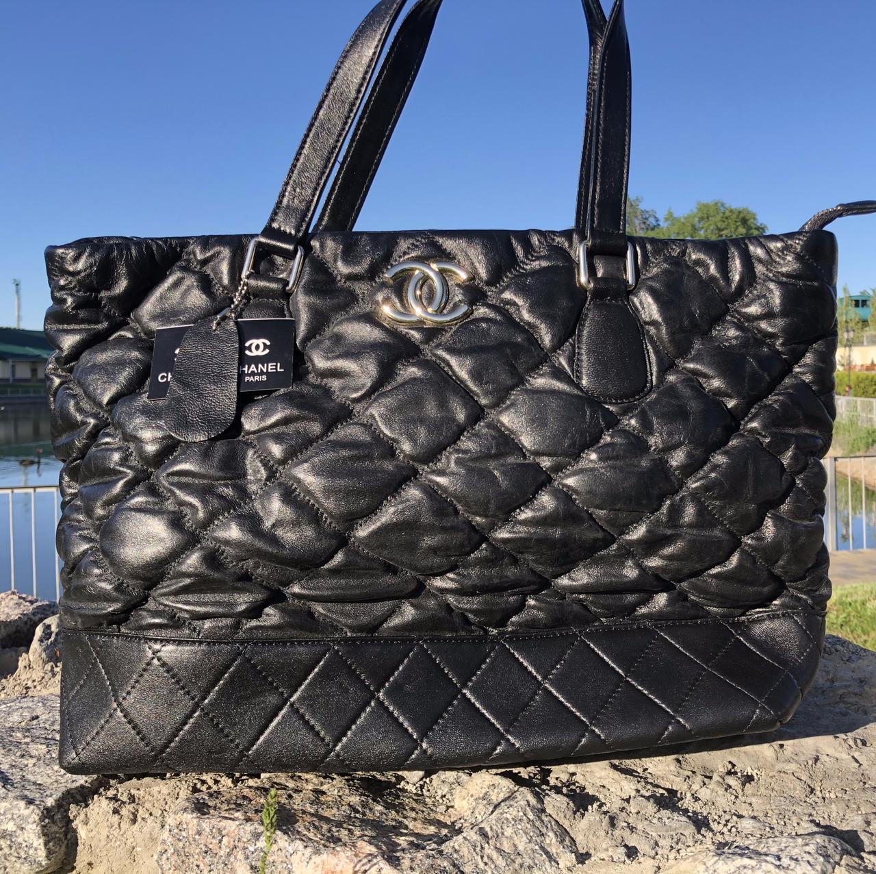 Женская сумка Chanel большая черная. Фото в живую. Люксовая реплика