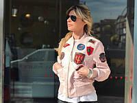 Top Gun Women's Vegan Leather Bomber Jacket, розовый