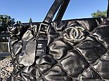 Женская сумка Chanel большая черная. Фото в живую. Люксовая реплика, фото 4