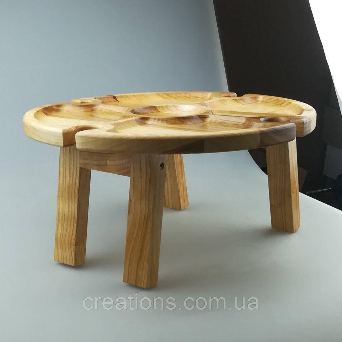 Винный столик - менажница на ножках из дерева черешни, ясеня 35х18 см. НМ-111