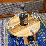 Винный столик - менажница на ножках из дерева черешни, ясеня 35х18 см. НМ-111, фото 3