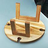Винный столик - менажница на ножках из дерева черешни, ясеня 35х18 см. НМ-111, фото 5