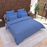 Комплект постельного белья «ST220 Blue» Страйп Сатин ST220-Blue, Семейный комплект