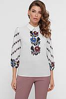 Блуза женская с цветами рукав 3/4 принт Вишиванка
