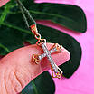 Золотой крестик с бриллиантами - Крестик женский с бриллиантами, фото 6