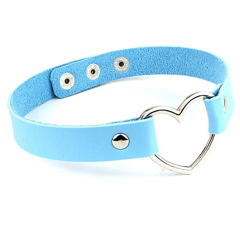 Чокер с сердцем кожаный голубой