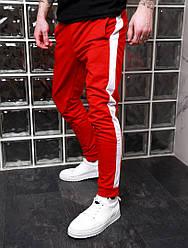 Мужские спортивные красные штаны с лампасами