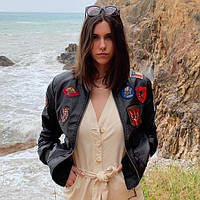 Top Gun Women's Vegan Leather Bomber Jacket, коричневый