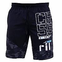 Мужские болоневые спортивные шорты Reebok CrossFit  стрейч черные милитари  (Реплика)