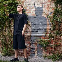 Комплект летний оверсайз Bum x black / Футболка + шорты, фото 1