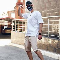 Комплект летний оверсайз Bum x beige-white / Футболка + шорты