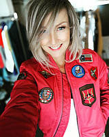 Miss Top Gun® MA-1 bomber jacket with patches, красная