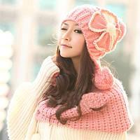 Женская шапка ушанка с цветком