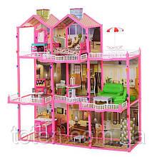 Домик для кукол барби 245 деталей с мебелью, большой свет 3 этажа. 8 комнат, веранда Размер 109х107х41 см 6992