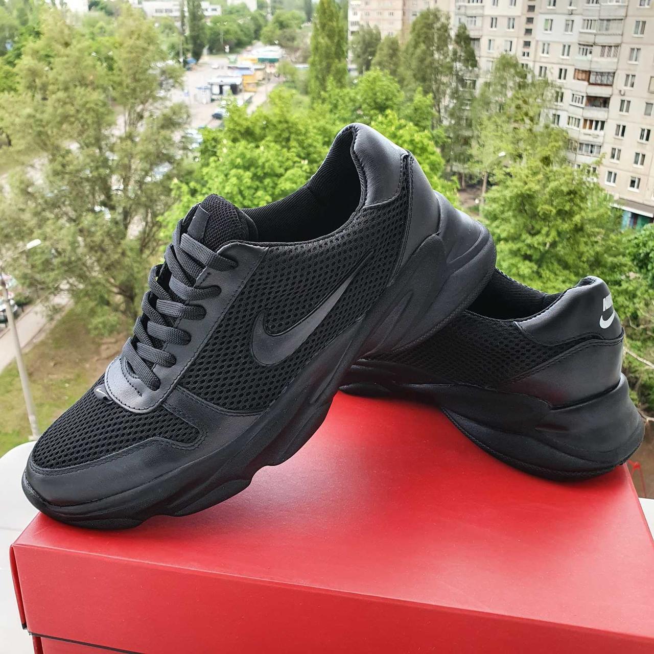 Мужские летние кожаные  кроссовки с сеткой Nike  чёрного цвета