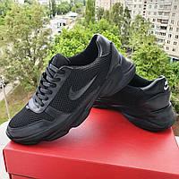 Мужские летние кожаные  кроссовки с сеткой Nike  чёрного цвета, фото 1