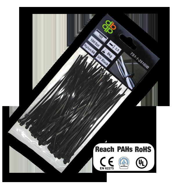 Стяжки кабельные пластиковые, многоразовые, UV, BLACK, 7,6*150 мм, TS1276150B