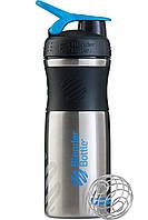 Бутылка-шейкер спортивная BlenderBottle SportMixer Stainless Steel Cyan 820мл, нерж.пищевая cталь SKL24-144892