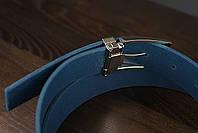 Мужской брючный кожаный ремень прошивной синего цвета размер xl 120 см, фото 5