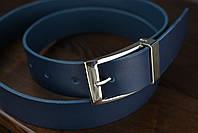 Мужской брючный кожаный ремень прошивной синего цвета размер xl 120 см, фото 6
