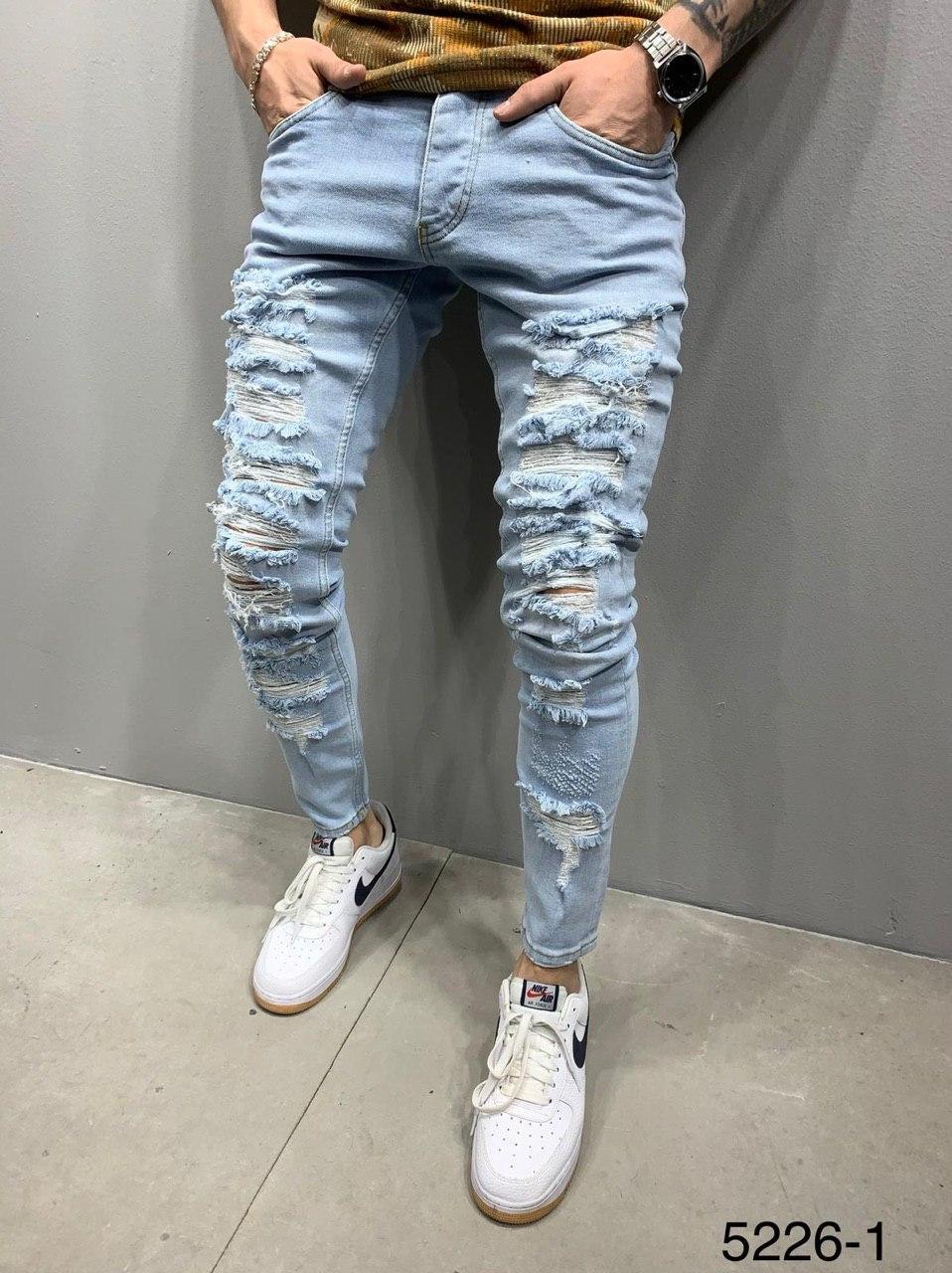 Чоловічі джинси блакитні рвані 2Y Premium 5226-1