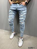 Чоловічі джинси блакитні рвані 2Y Premium 5226-1, фото 1