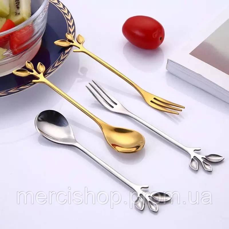 Набір оригінальних десертних приладів сріблястого кольору