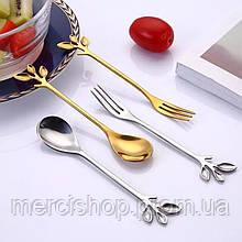Набор оригинальных десертных приборов серебристого цвета