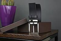 Мужской брючный кожаный ремень прошивной черного цвета размер xl 120 см, фото 2