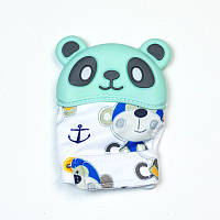 Варежка-грызунок SLINGOPARK «Панда» (зелёный с обезьянкой)