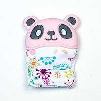 Варежка-грызунок SLINGOPARK «Панда» (розовый с цветами)
