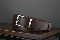 Мужской брючный кожаный ремень прошивной  коричневого цвета размер xl 120 см, фото 3