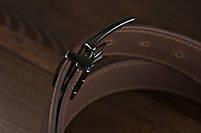 Мужской брючный кожаный ремень прошивной  коричневого цвета размер xl 120 см, фото 4