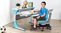 Парта-стол Гарвард КД-333 голубые вставки Тик с кабинетом+ кресло Match КУ-518 голубое