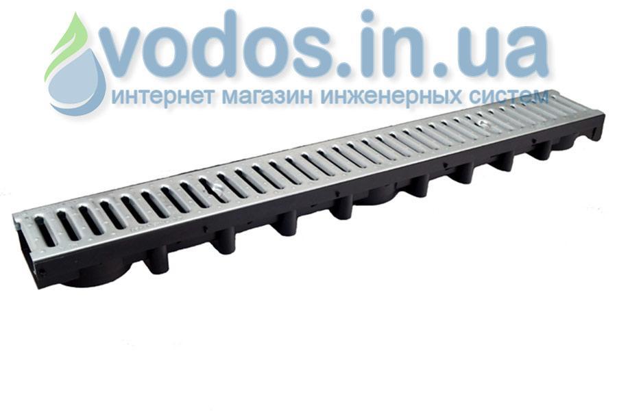 Лоток дренажний ДРІБНИЙ 63 мм з гратами сталевої оцинкованої А15 (1.5 тони) і кріпленням 01714
