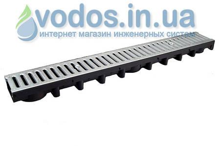 Лоток дренажний ДРІБНИЙ 63 мм з гратами сталевої оцинкованої А15 (1.5 тони) і кріпленням 01714, фото 2
