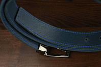 Мужской брючный кожаный ремень прошивной синего цвета размер s 105 см, фото 3