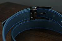 Мужской брючный кожаный ремень прошивной синего цвета размер s 105 см, фото 5