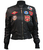 Женский бомбер Miss Top Gun MA-1 jacket with patches TGJ1573P (Black), фото 1