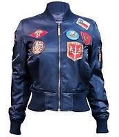 Женский бомбер Miss Top Gun MA-1 jacket with patches TGJ1573P (Navy), фото 1