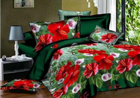 Белье постельное бязь двухспальный комплект 175х215 см зеленый с цветами