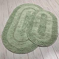 Набор хлопковых ковриков для ванной Zerya зеленый овал