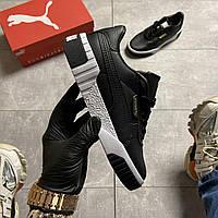Мужские кроссовки Puma Cali Black Leather, Женские Пума Кали Черные мужские кроссовки кожаные