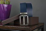Мужской джинсовый кожаный ремень синего цвета размер m 110 см, фото 2