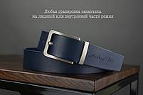 Мужской джинсовый кожаный ремень синего цвета размер m 110 см, фото 3