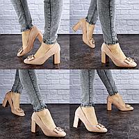 Туфли женские на каблуке бежевые Claire 1878 Размер 39 - 24,5 см по стельке, обувь женская