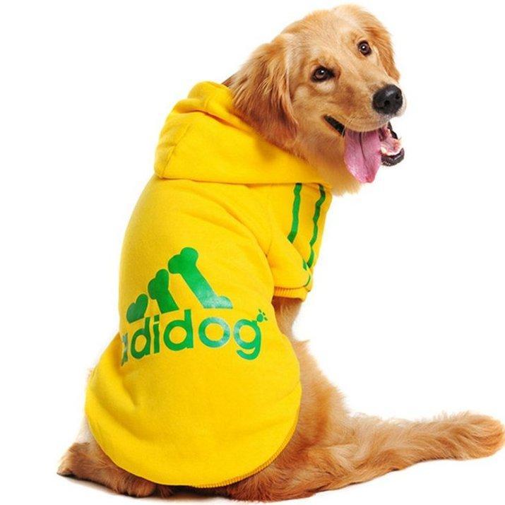 Толстовка для собак «Adidog», желтый, джемпер, кофта для собак, одежда для собак
