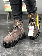 🔥 Замша 🔥 Puma Spring Boots Brown Yellow Black Пума Буст 🔥 Пума женские кроссовки 🔥