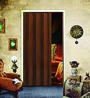 Двері гармошка Горіх Мускатний Folding міжкімнатні, глухі, складні, розсувні, пластикові, приховані