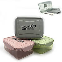 DSCN1029  Ланчбокс контейнер для еды, 2 отделения ложка/вилка, пластик, СВЧ, 17*13*7см,mix3